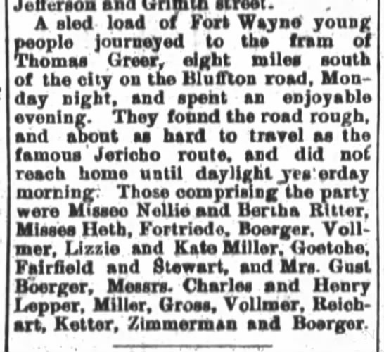 The Fort Wayne Journal-Gazette, Wed. Jan. 25, 1888, p.4 -