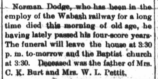 Dodge-Wm LindleyPettit Father-in-Law 8-13-1889 -