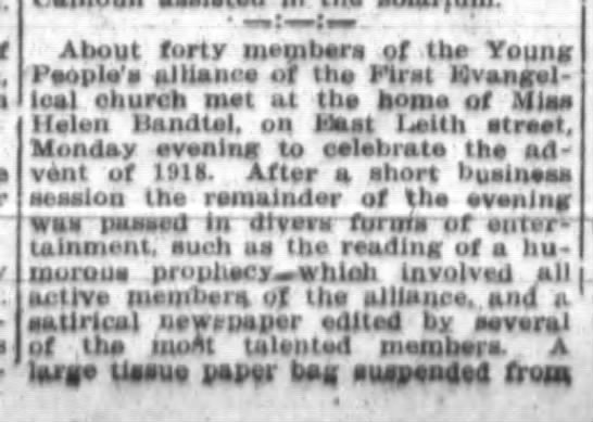 Helen Bandtel, The Ft.Wayne Journal-Gazette, Thur. Jan.3, 1918 p.8 part 1 -