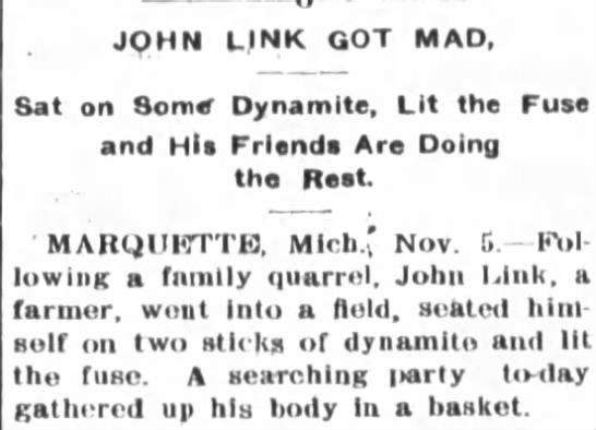 Link sits on dynamite, Fort Wayne Journal-Gazette, Nov. 6, 1903 -
