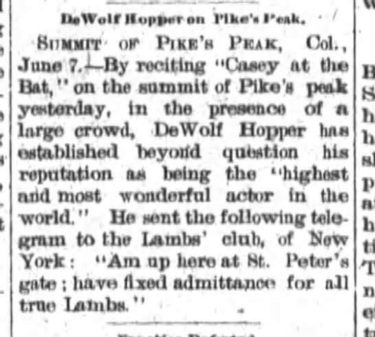 Fort Wayne Sentinel 7 June 1897 -