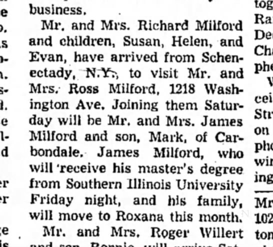 Richard & Barbara Milford family visit  - . Charles pher Illinois business. Mr. and Mrs....