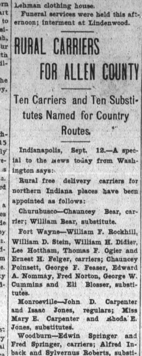 William F Rockhill and Chancey Poinsett among rural carriers appointed. -