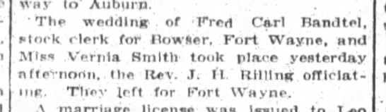 Fred and Vernia wedding, The Ft. wayne Sentinel, Wed. May 19, 1915 p.12 -