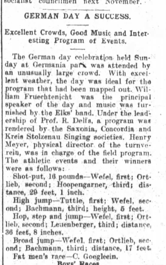 German Day, The Fort Wayne Sentinel, Mon. Aug. 25, 1913, p.2 -