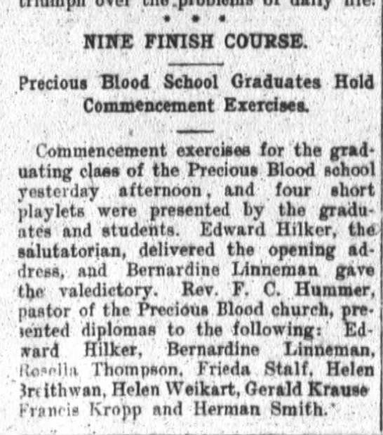 Helen Weikart PB Commencement, 1913 -