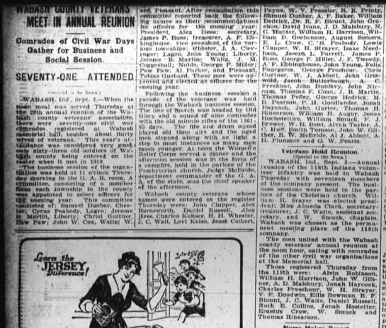 Cyrus Peabody attends Civil War Meeting Sept 3 1920 Ft Wayne Sentinel Sept 3 1920 page 14 -