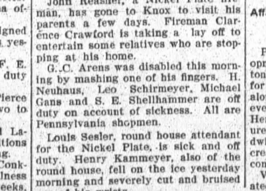 H Neuhaus off sick from Pensylvania Railroad -