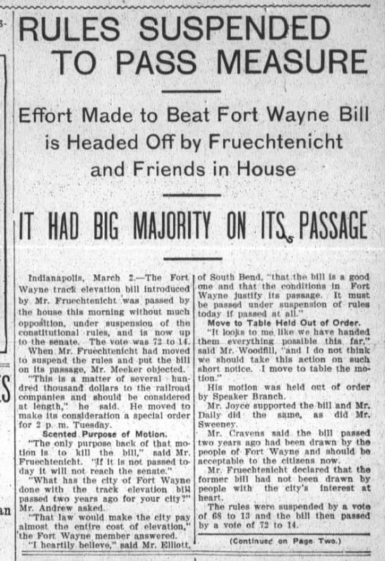 The Fort Wayne Sentinel, Sat. Mar. 2, 1907, p.1 -