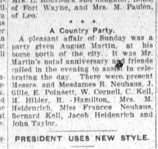 R Neuhaus and Miss Frances Neuhaus party at home of August Martin -