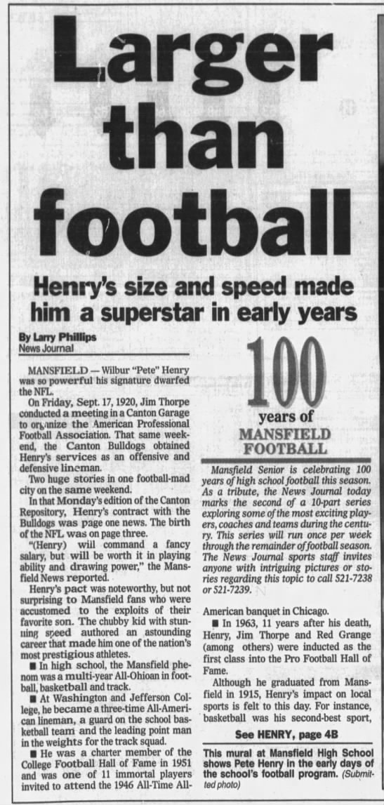 Larger than football: Henry's size and speed made him a superstar in early years -