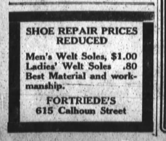 Fortriede's, The Fort Wayne Journal-Gazette, Fri. Dec. 9, 1921 p.11 -