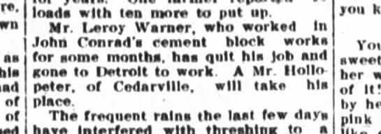 John Conrad 8 Aug 1907 cement work -