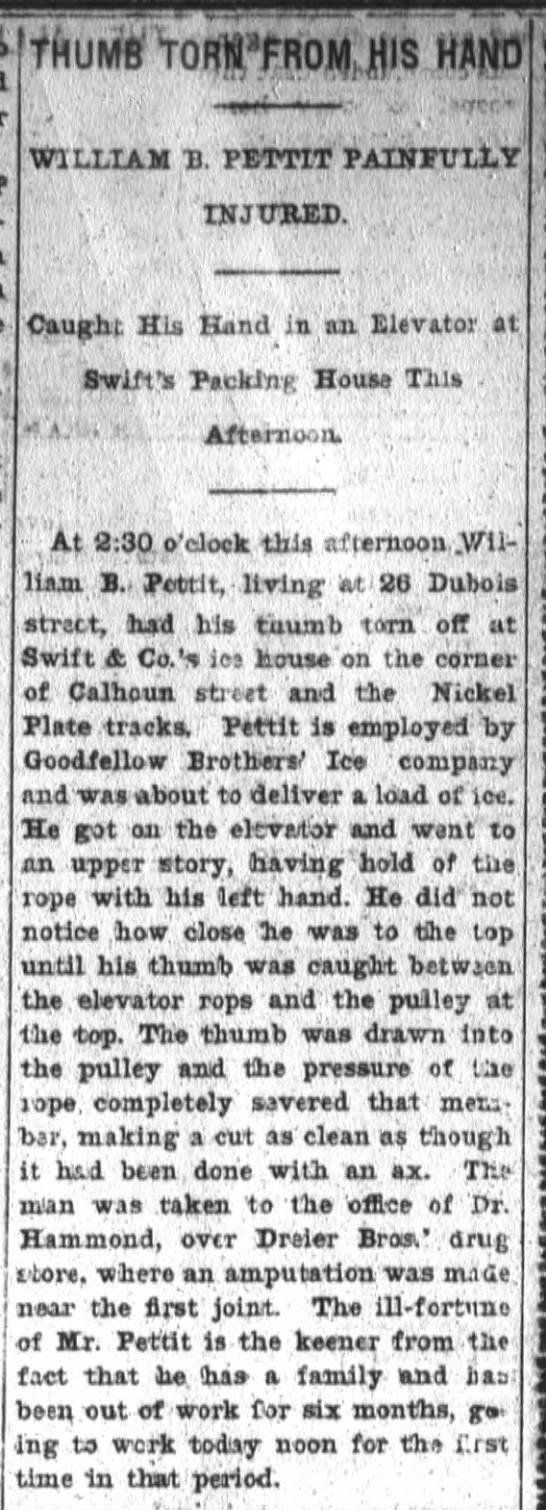 Wm B Pettit Hand Injury 2-1-1901 -