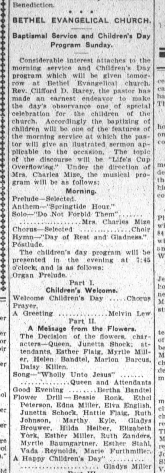 Helen Bertha Bandtel, The Ft.Wayne Sentinel Sat. June 12,1909 Sat. p.5 -