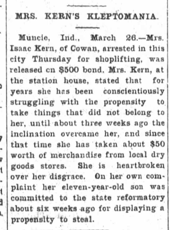 The Fort Wayne Sentinel 26 Mar 1900 pg 5 col 2 Emma Nottingham Kern stealing -