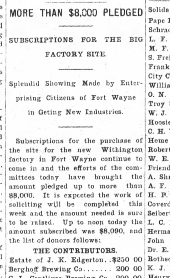 L.Fortriede, The Fort Wayne Sentinel, Wed. Mar. 28, 1900 p.2 part 1 -