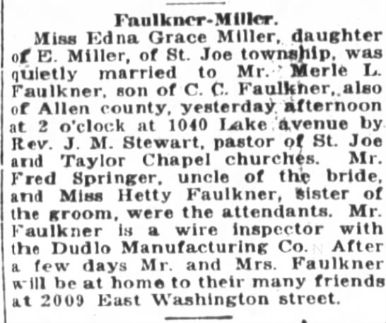 1919 Nov 21 Faulkner, Merle & Edna Grace Faulkner marry -