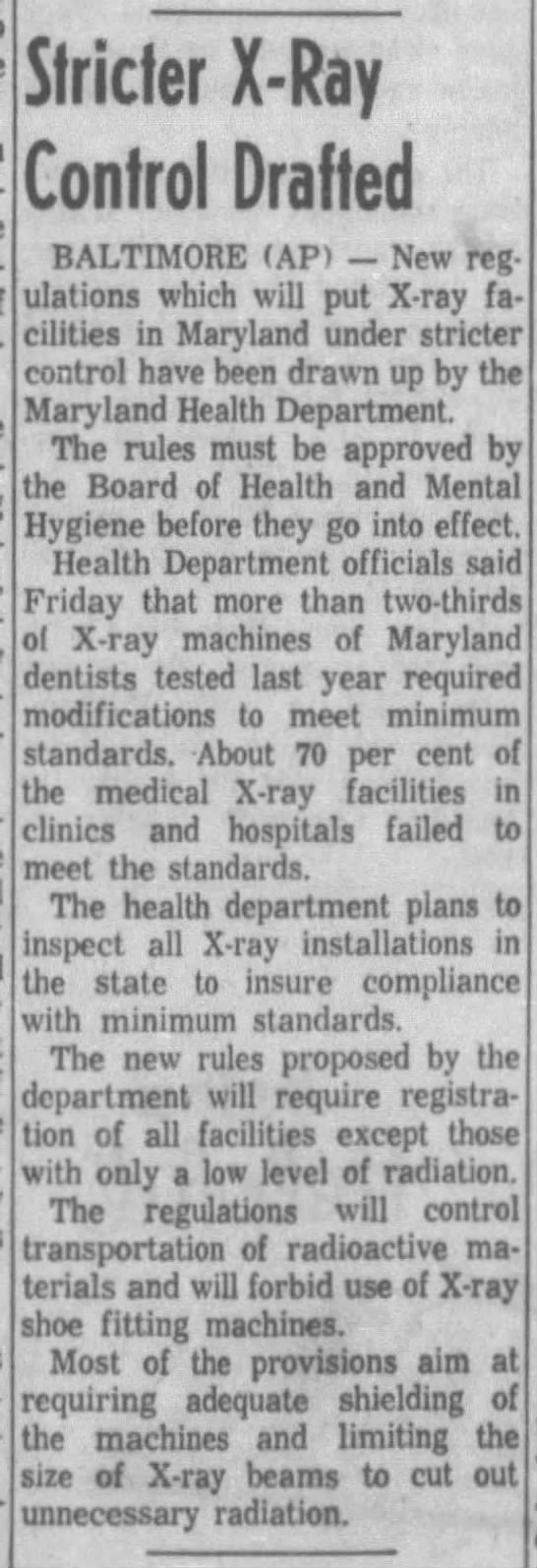 Stricter X-Ray Control Drafted (1962) -