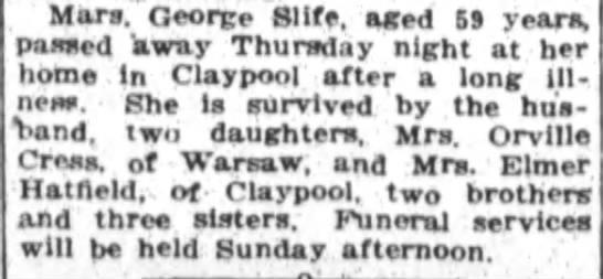 Mrs. George Slife Obit -