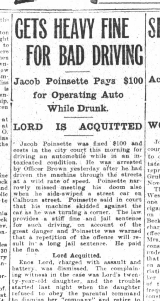 Jacob Poinsett fined $100 for DUI -