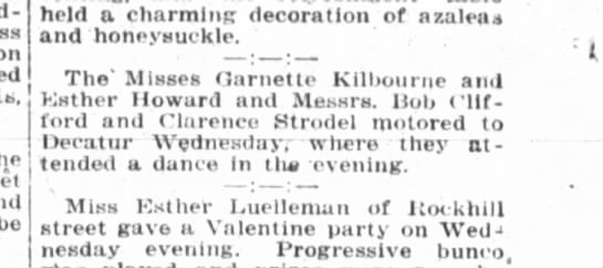 Clarence Strodel drove to a dance -