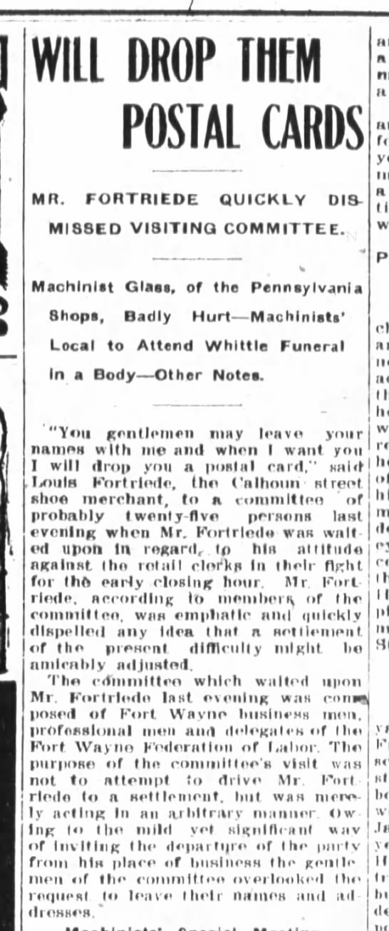 Louis Fortriede, The Fort Wayne Journal-Gazette, Sat. Mar. 2, 1907 p.3 -