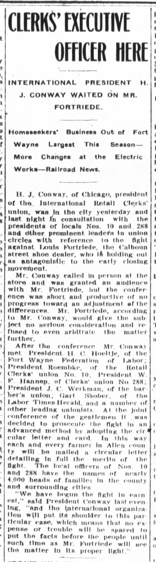 Louis Fortriede, the Ft.Wayne Journal-Gazette, Wed. Mar 6, 1907 p.3 -