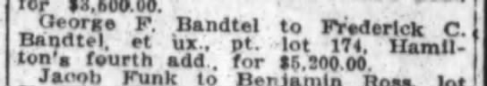 Geo. F. Bandtel, The Ft. Wayne Journal-Gazette, Nov. 8, 1922 Wed. -