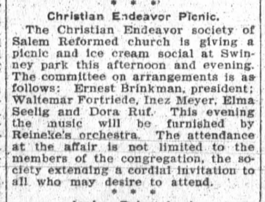 Waldemar Fortriede, The Ft.Wayne Sentinel, Wed, July 15, 1908, p.5 -