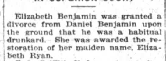 D & E Divorce Nov 1921 -