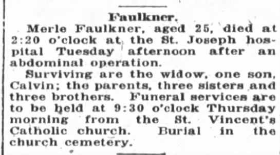 1922 Sep 13 Merle Faulkner, age 25, died  -