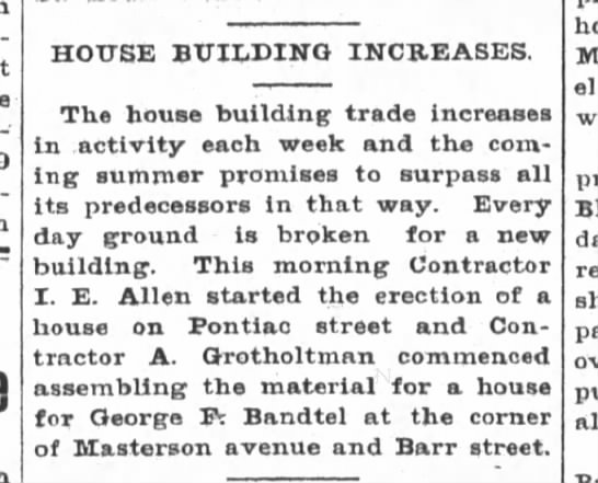 Geo.F.Bandtel, The Ft.Wayne, Sentinel, Fri. May 15, 1903 p.9 - HOUSE BUILDING INCREASES The house building...