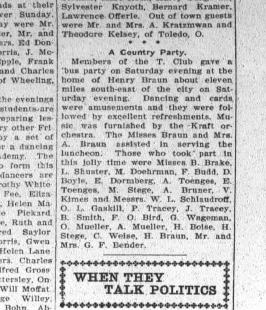 R/A.Toenges, The Fort Wayne Sentinel, Wed. Sept. 30, 1908 p.6 -
