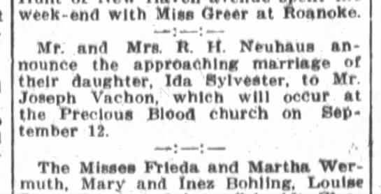 Ida Neuhaus to marry Joseph Vachon at Precious Blood -