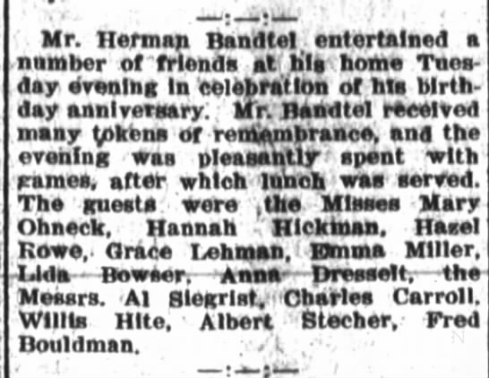 Herman Bandtel, The Ft.Wayne Journal-Gazette, Oct.19,1905 Thurs. p.6 -