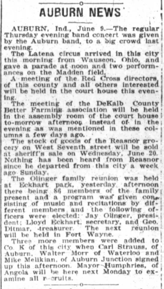 Downie LaTena6-10-1917 - AUBURN NEWS' AUBURN, Ind., Jiine . - The...