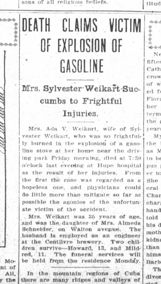Ada Weikart Obituary, 10 Oct 1908 -