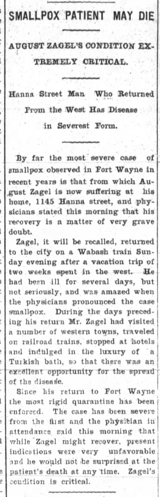 August Zagel, The Ft.Wayne Sentinel, 23 July 1902, Wed. p.4 Smallpox -