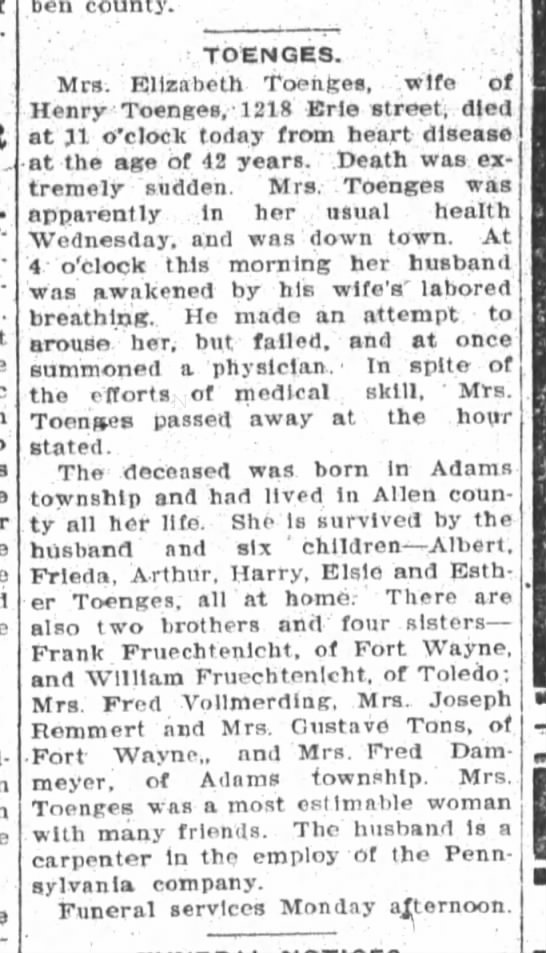 Elizabeth Toenges, The Fort Wayne Sentinel, Th, Nov. 19, 1908 p.2 Obit. -