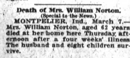 Ft. Wayne Sentinel - 7 March 1921 - Ueatrt of Mrs. WUIiam Norton: 1. . ' (Speclil U...