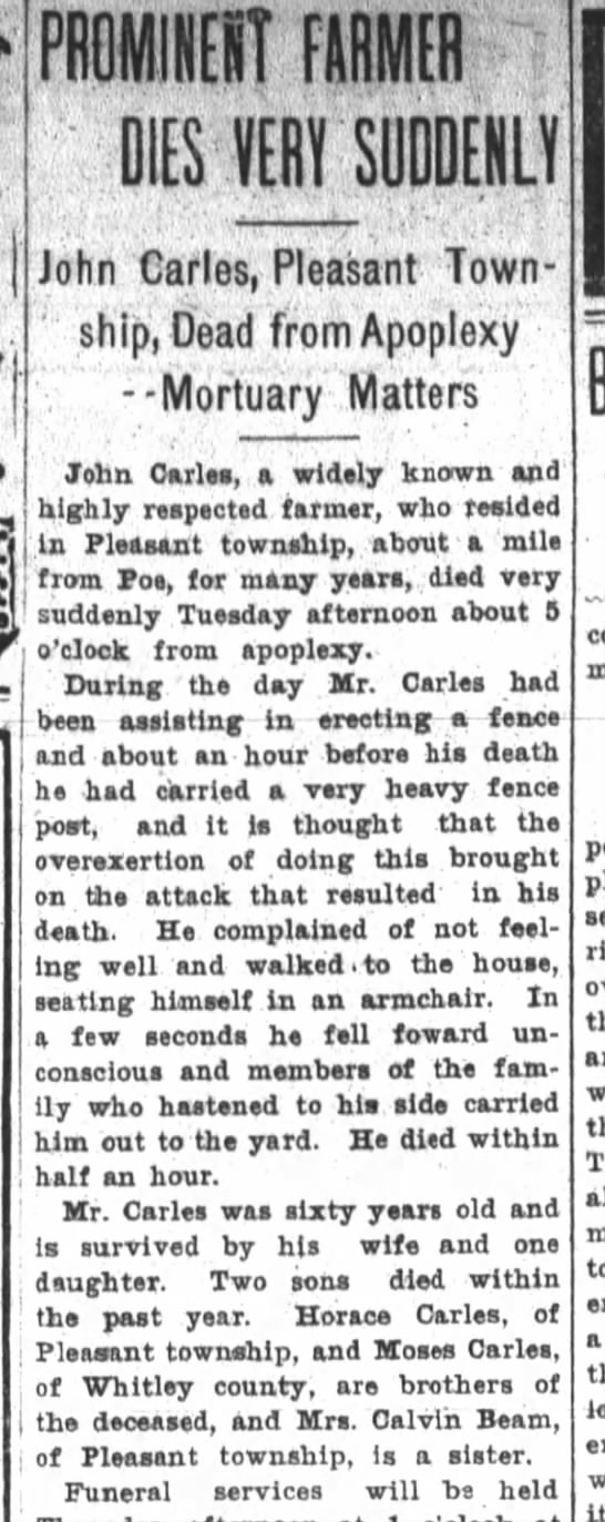 John Carles, Pleasant Township, Dead of Apoplexy -