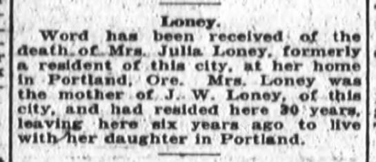Julia Loney death 1923 -