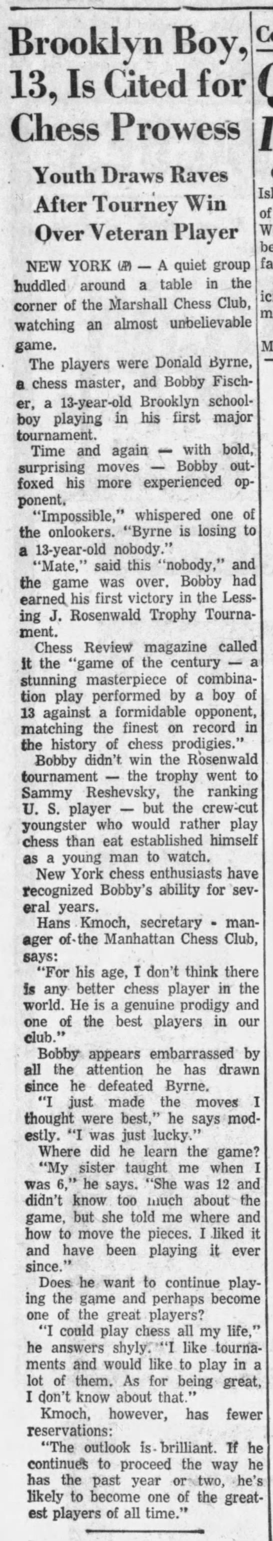 Brooklyn Boy, 13, Is Cited for Chess Prowess - Brooklyn Boy, 13, Is Cited for Chess Prowess ....