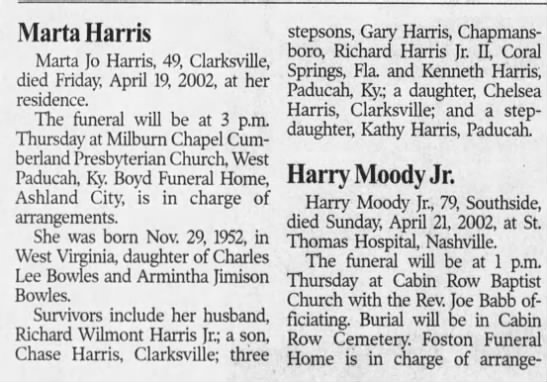 Marta Bowles Harris Obituary -