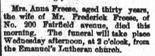 Death of 1st wife of Frederick Freese, Grandma Koch's father. -