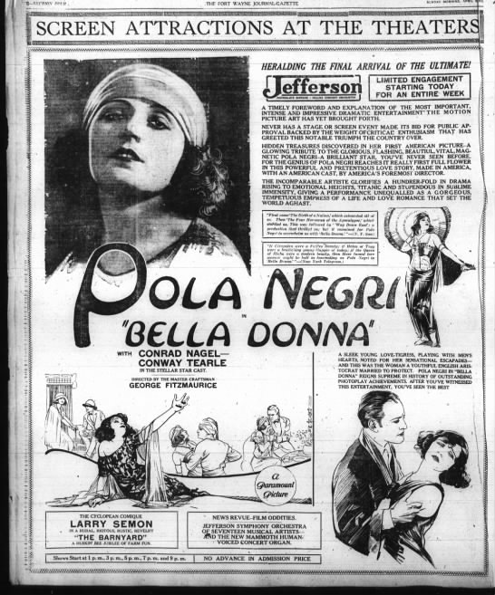 Pola Negri Bella Donna ad April 1923 -