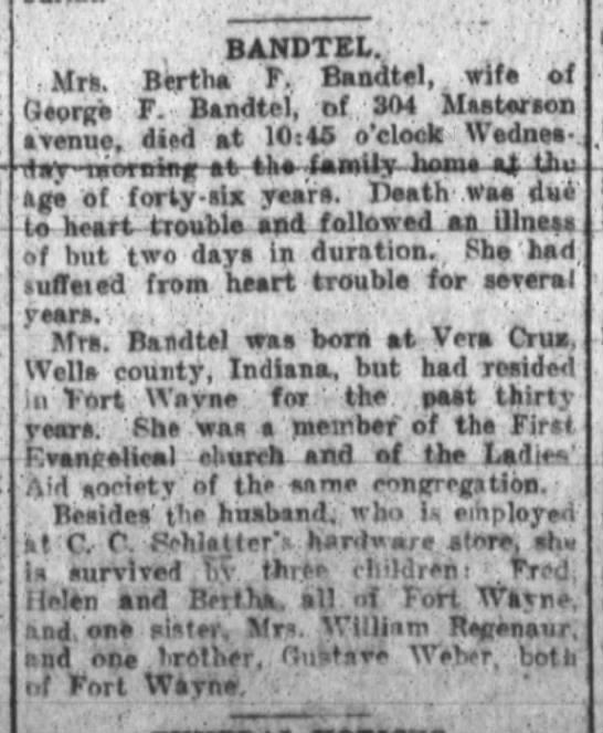 Bertha Bandtel Obit. The Ft. Wayne Sentinel, Aug.2, 1916 Wed. -