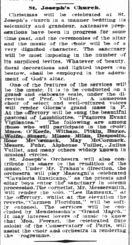 Christmas Plays For Church.William Messersmith Plays Coronet At Christmas 1897