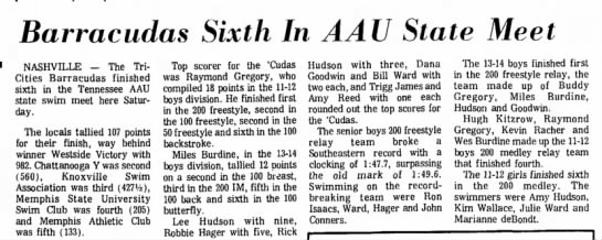 1972 Barracudas 6th in state meet -